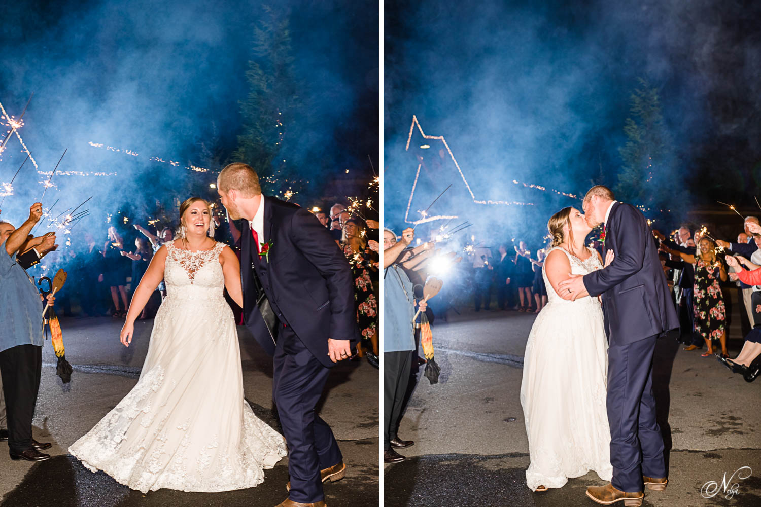 two photos of wedding couple exiting their wedding with guests holding smoky blue sparklers