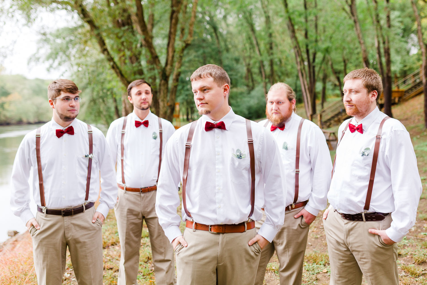 groomsmen walking along hiwassee River in TN