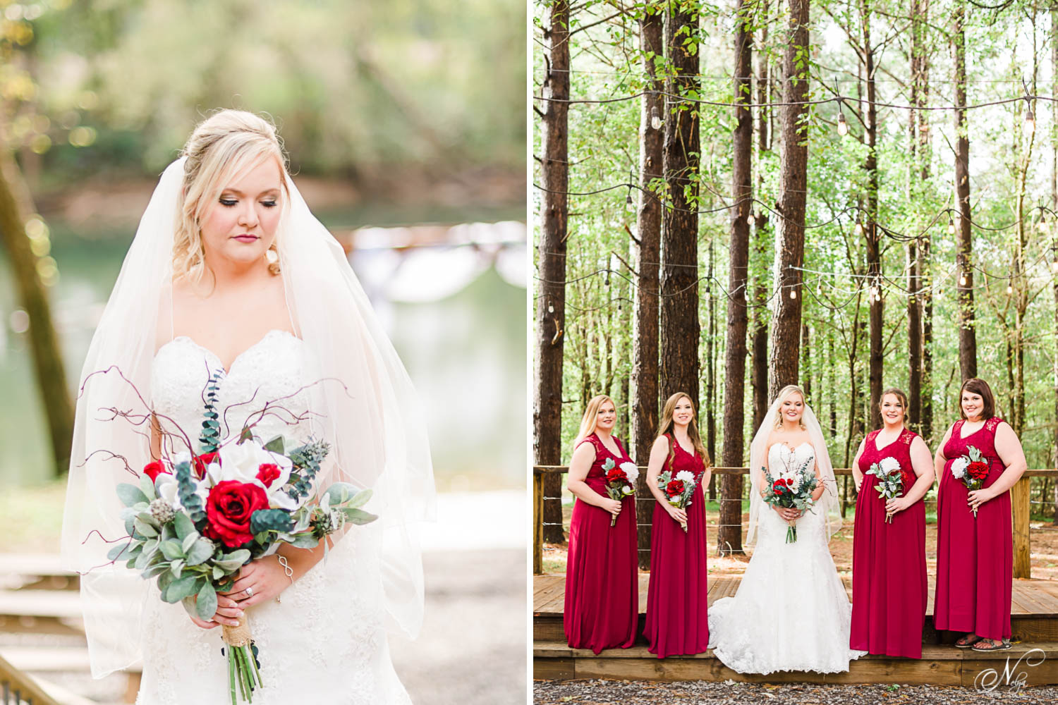 Bride with veil over her shoulders holding her bouquet and looking down over her shoulder at Hiwassee River Weddings in TN. And bridesmaids in cranberry red bridesmaids dresses with tall pines in the background