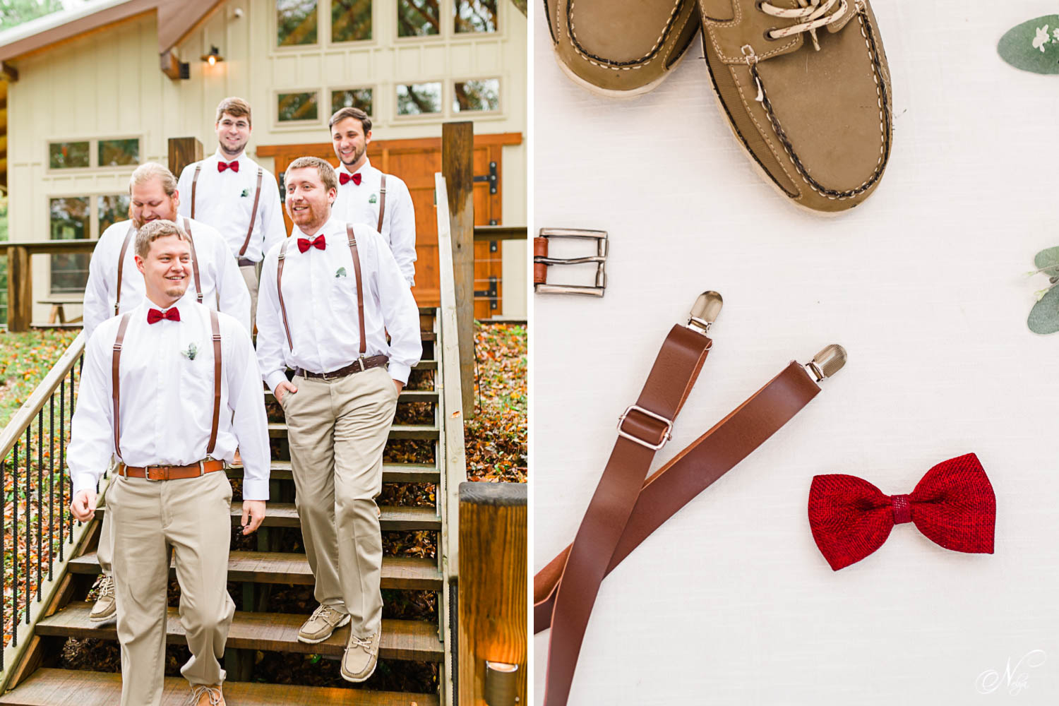 guys walking down large wood stairs outside. And brown leather suspenders, red clip on bowtie on white background.