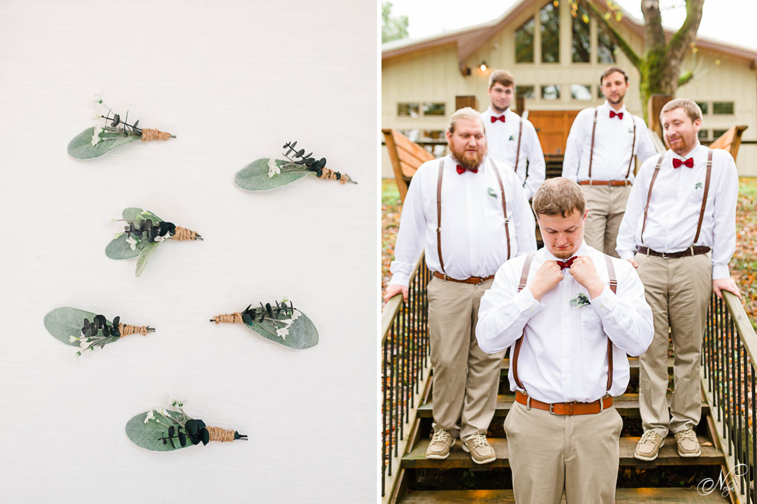 guy's boutonnieres made with lamb's ear. And groomsmen in white shirts and red bowties in front of Hiwassee River Weddings.