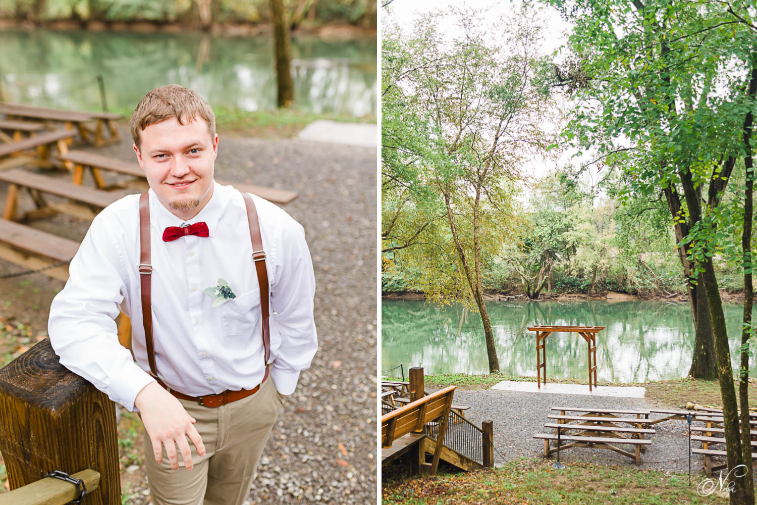groom outside at foot of stairs wearing red, white and tan on his wedding day. And Hiwassee River Weddings' river side Ceremony location with clear green water and tall river oaks.