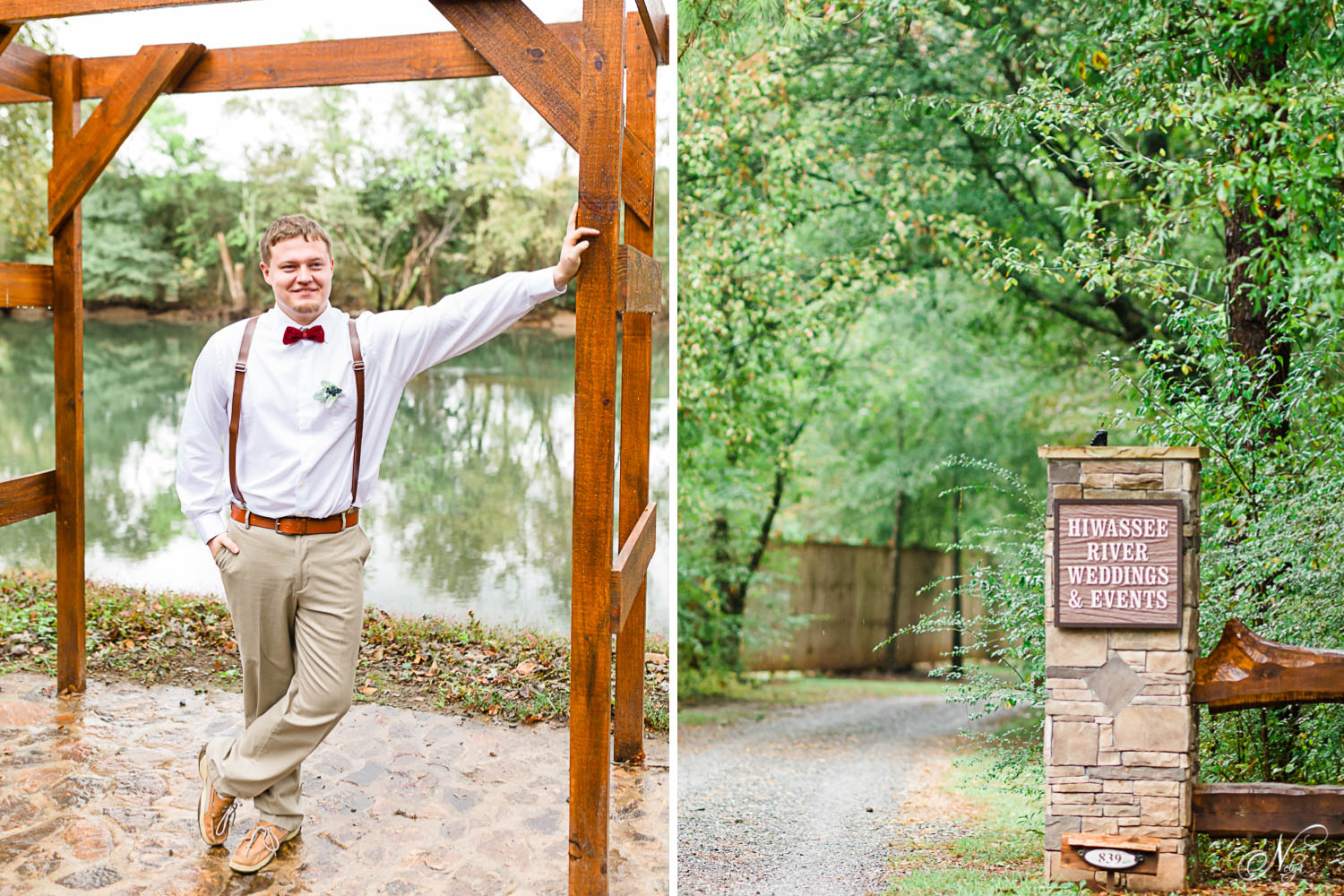 one guy outside leaning on wedding arbor. And entraance road to Hiwassee River Weddings and sign on stone gate pillar.