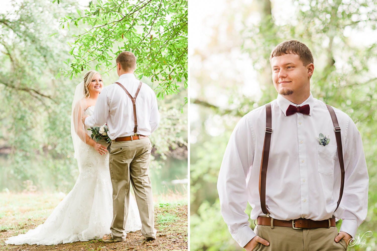 bride and groom outside in Tennessee at their First Look by the Hiwassee River.
