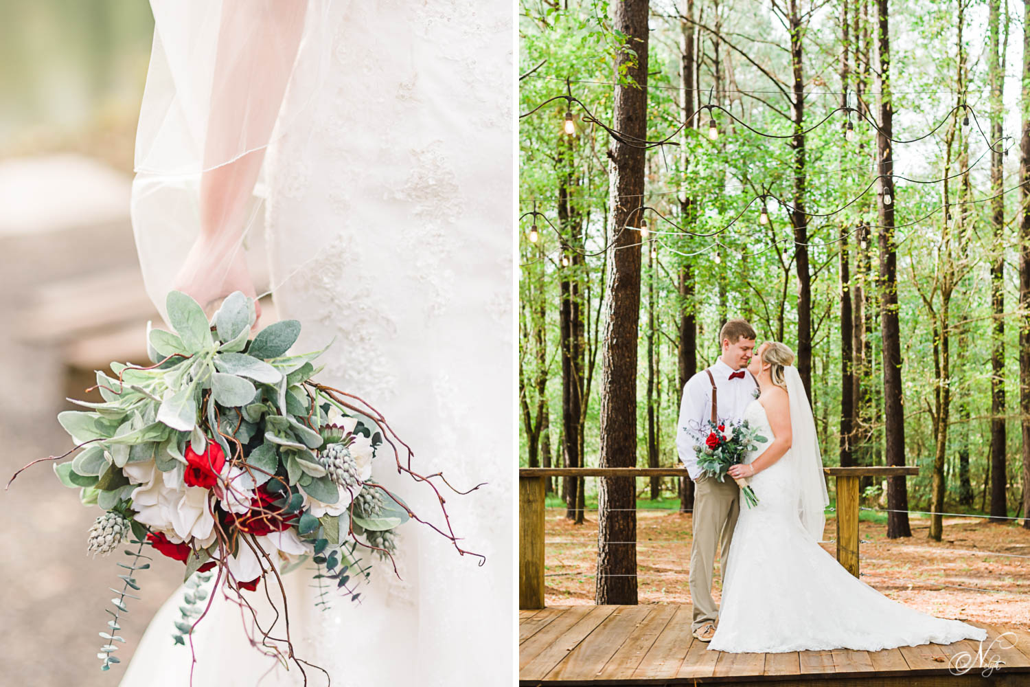 bride's hand holding bouquet by the side of her Alfred Angelo dress. And wedding couple in green woods.