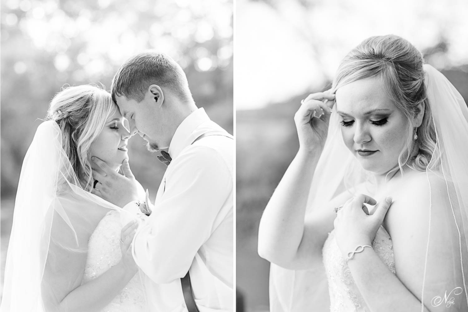 black and white wedding portraits of couple forehead to forehead