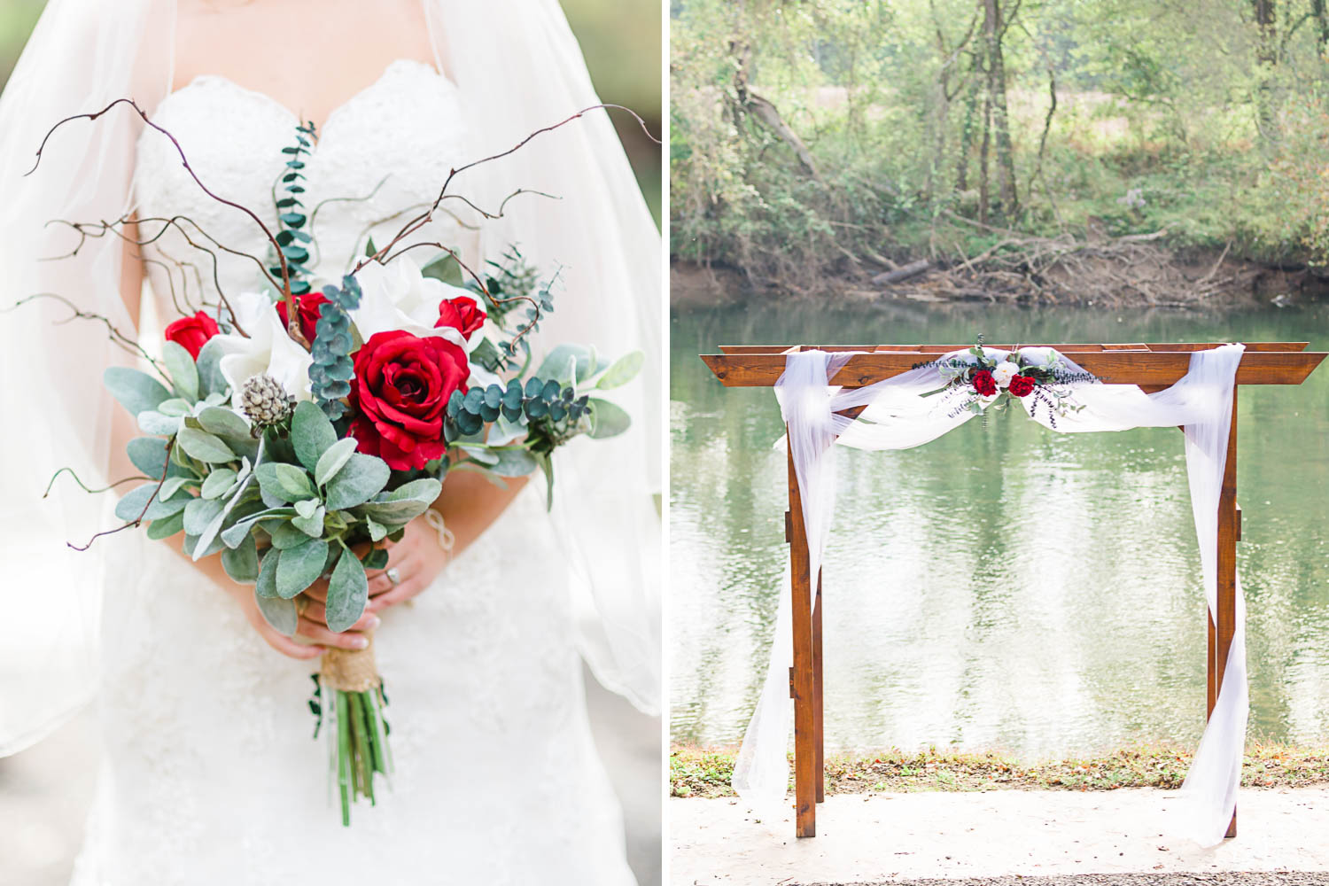 bold red, white and greenery wedding bouquet. And wedding arbor with simple draping and flowers in front of the river.