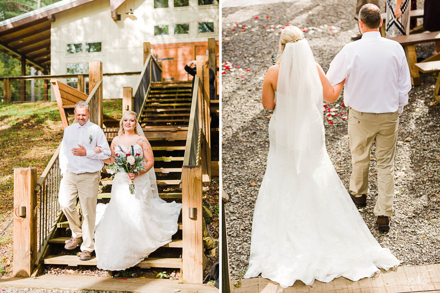 the grand rustic stairs at Hiwassee River Weddings with a bride and her dad walking in. And back view of bride and dad walking in.