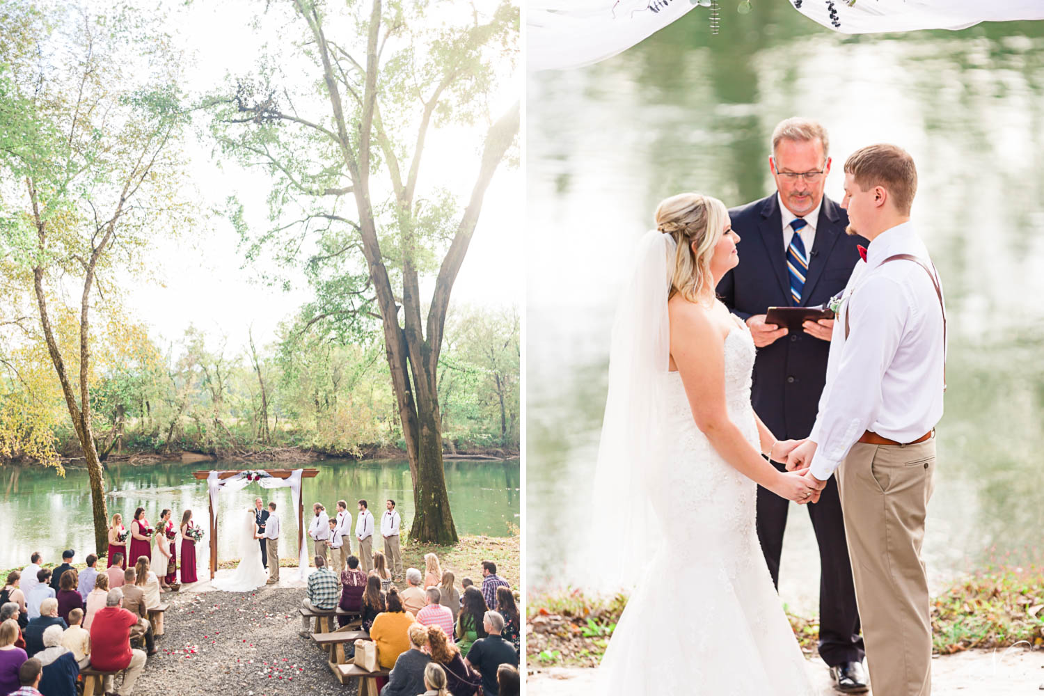 Outdoor Tennessee Overhill Riverside wedding ceremony in Delano TN
