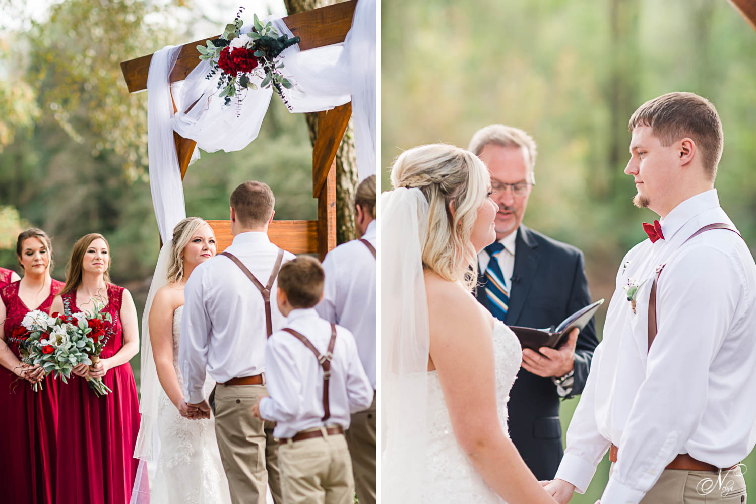 Outside wedding ceremony under handmade wooden wedding arbor at Hiwassee River Weddings