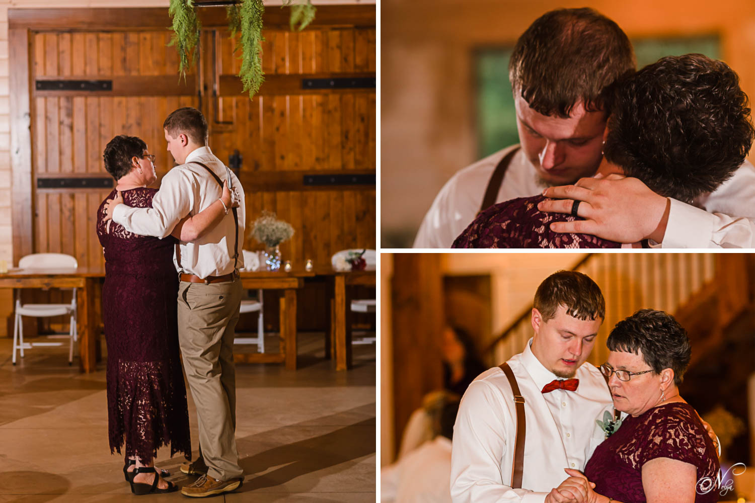 mother son dance with the handmade oak doors of Hiwassee River Weddings in the background
