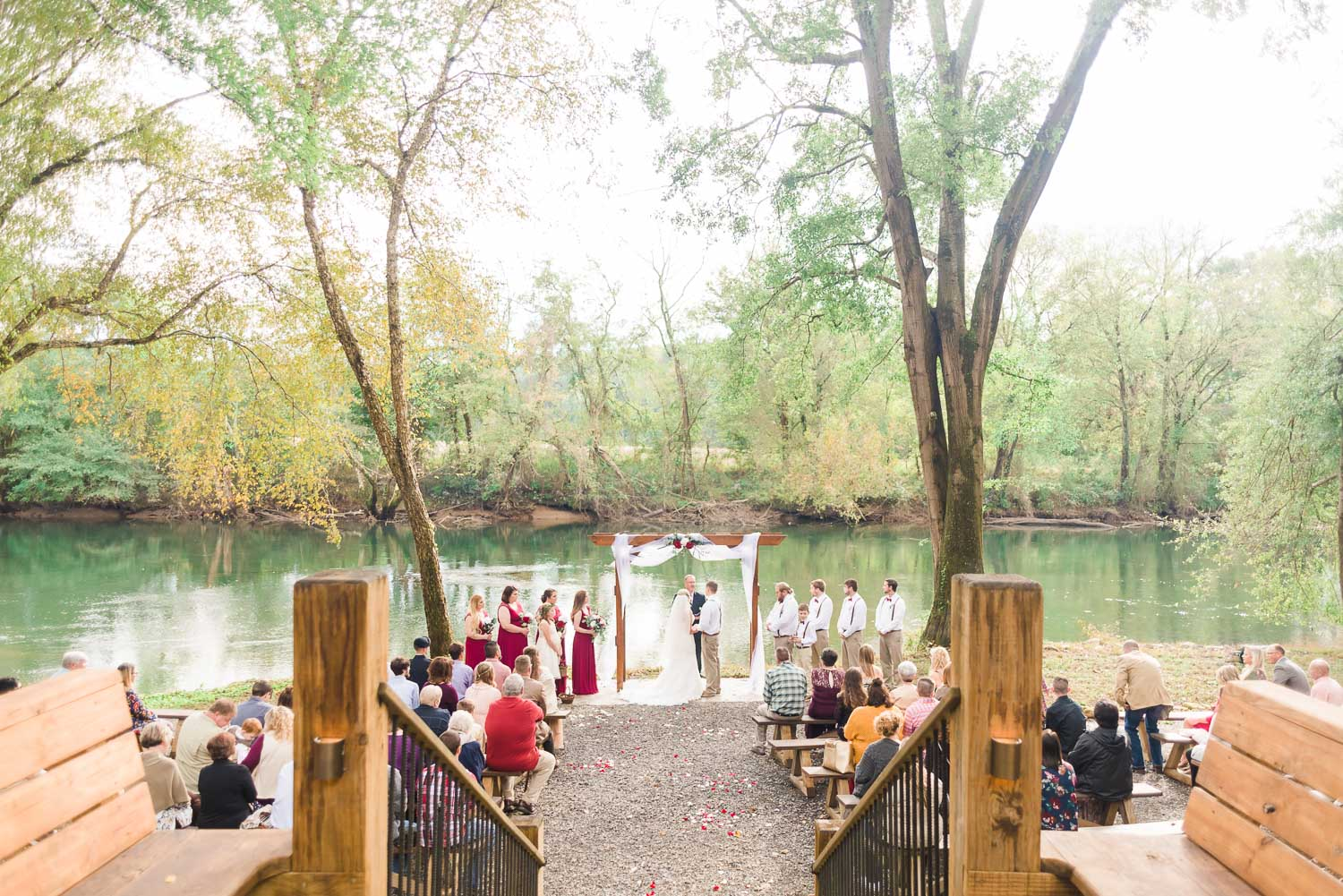 Late October outdoor Tennessee River wedding ceremony