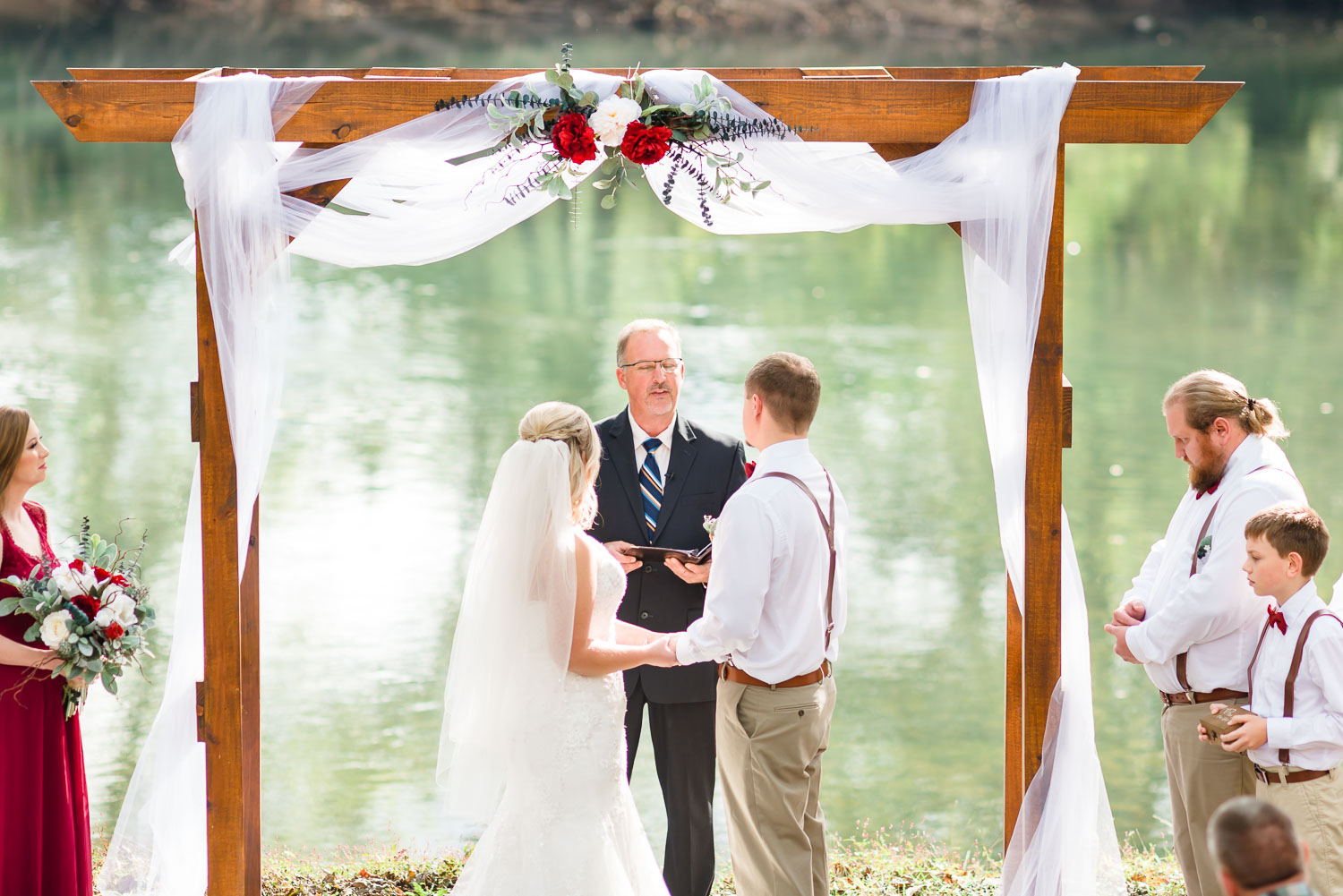 Outside river wedding ceremony at Hiwassee River wedding venue in East TN