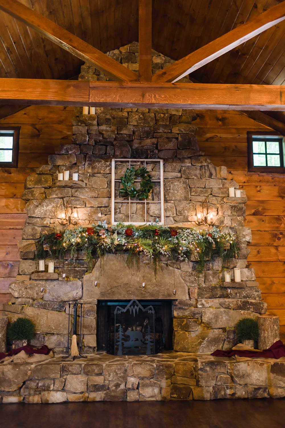 the huge stone fireplace at The reception hall at Indigo Falls Events in Dallas GA