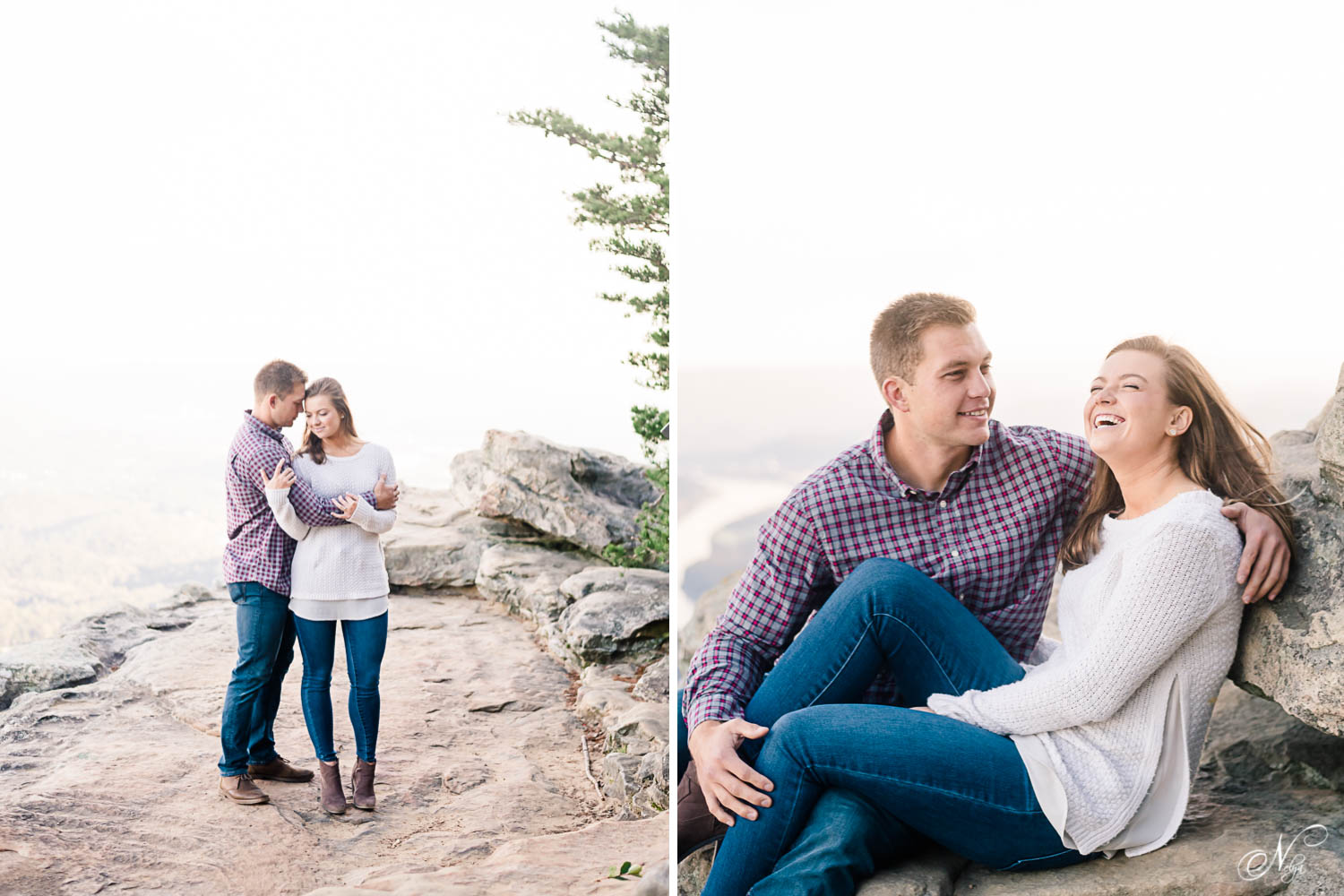 engaged couple laughing and sitting on uncomfortable rocks during a hazy morning in Chattanooga TN