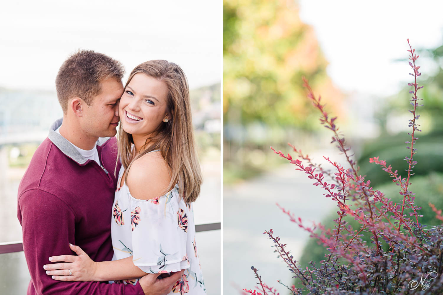 couple smiling at the camera in fall themed outfits of maroon and white in chattanooga TN