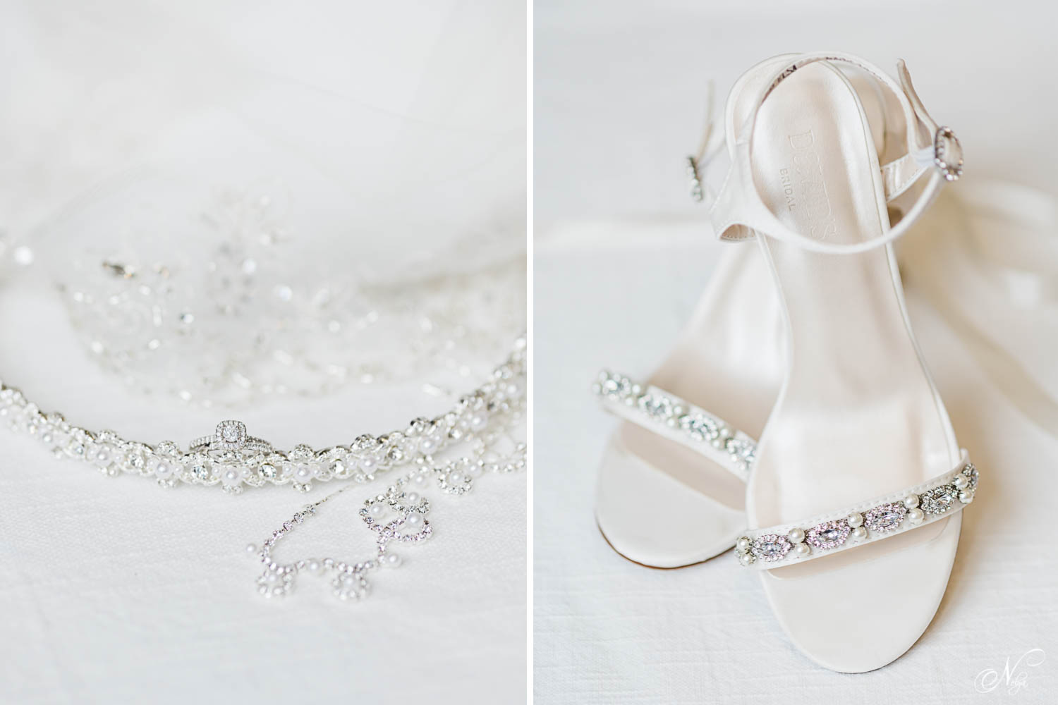 wedding details including headband and wedding rings on white background. And White David's bridal shoes