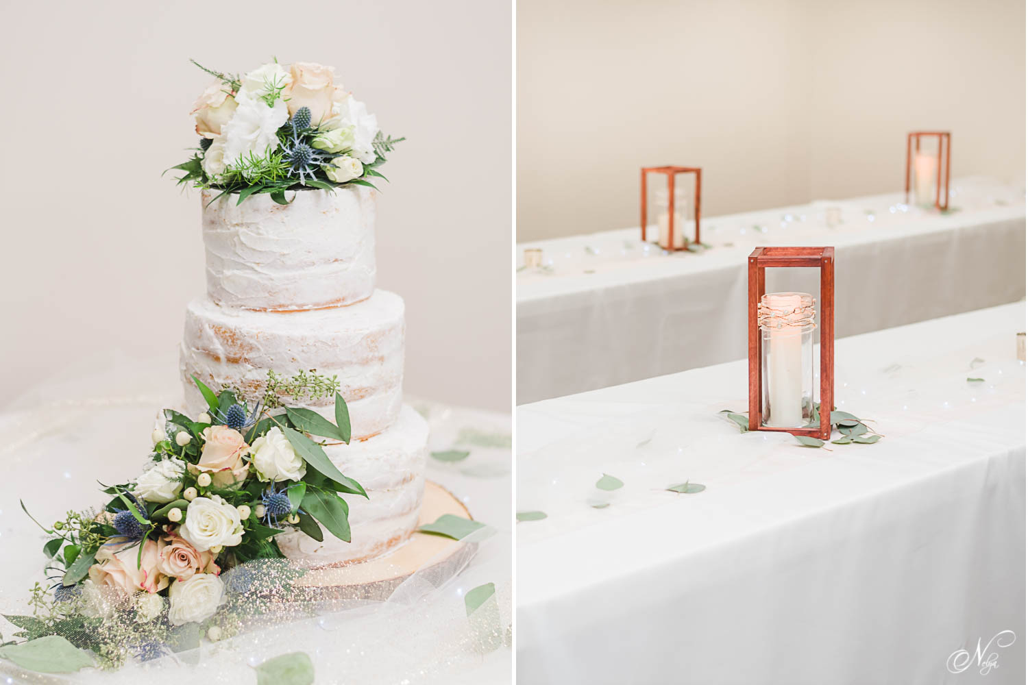 white wedding cake with white roses and dusty blue berries on top. And wodden frame center pieces at wedding reception