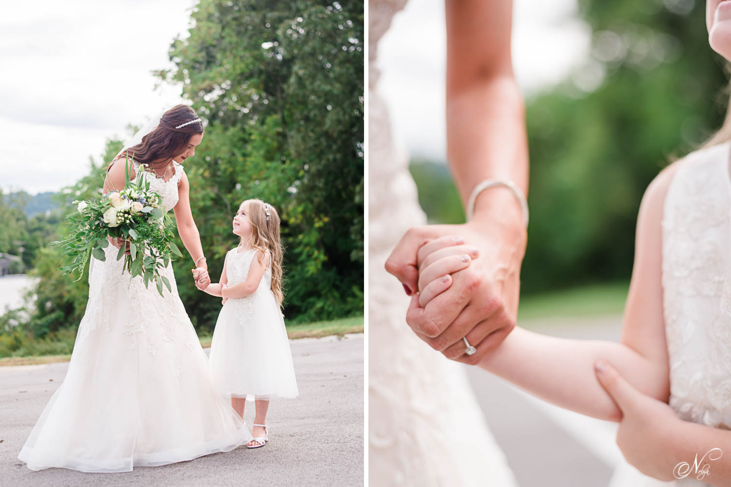 bride talking to flower girl outside in Knoxville TN. And close up of adult hand holding a child's hand