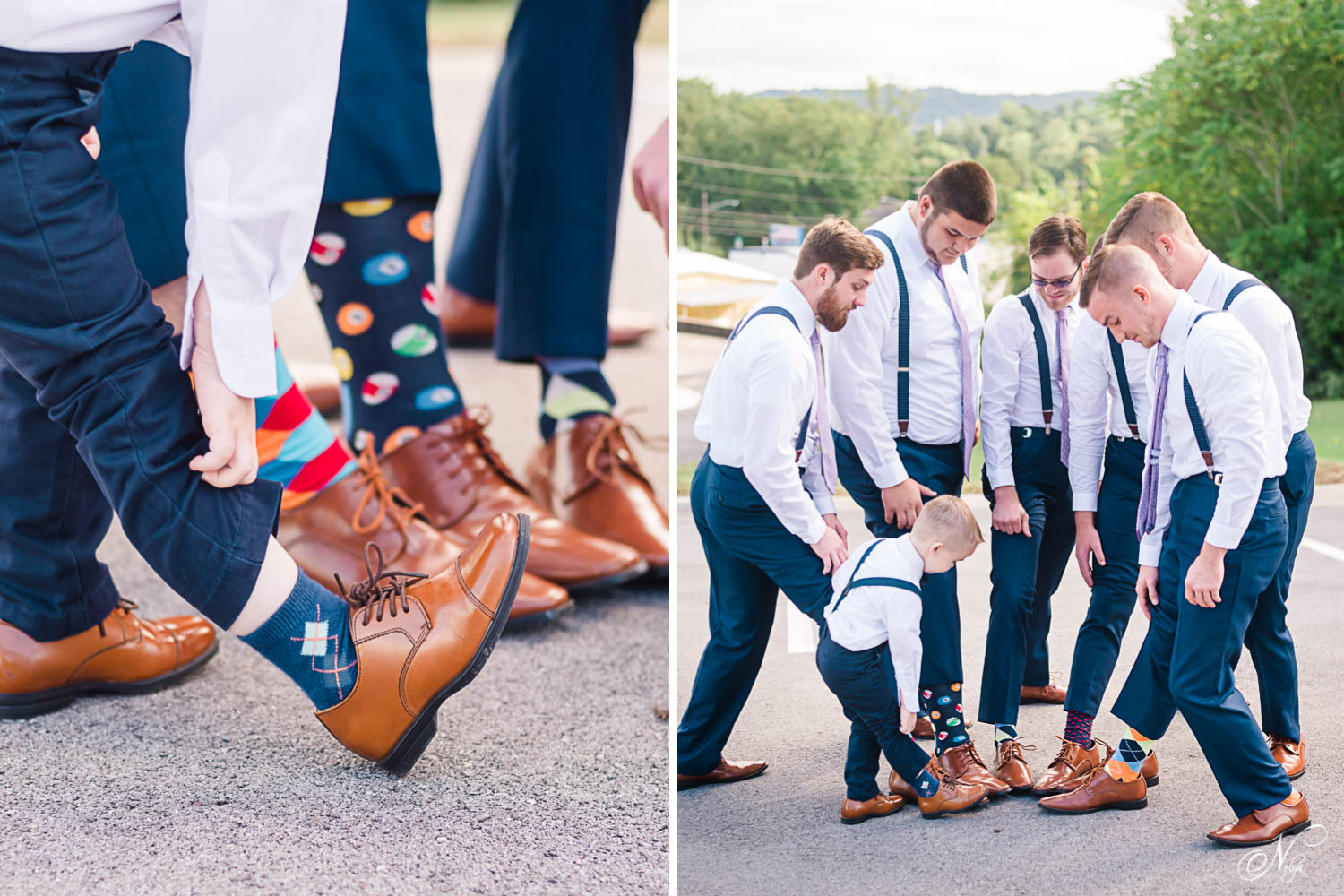 little ring bearer sized brown dress shoes and bright colored groomsmen socks