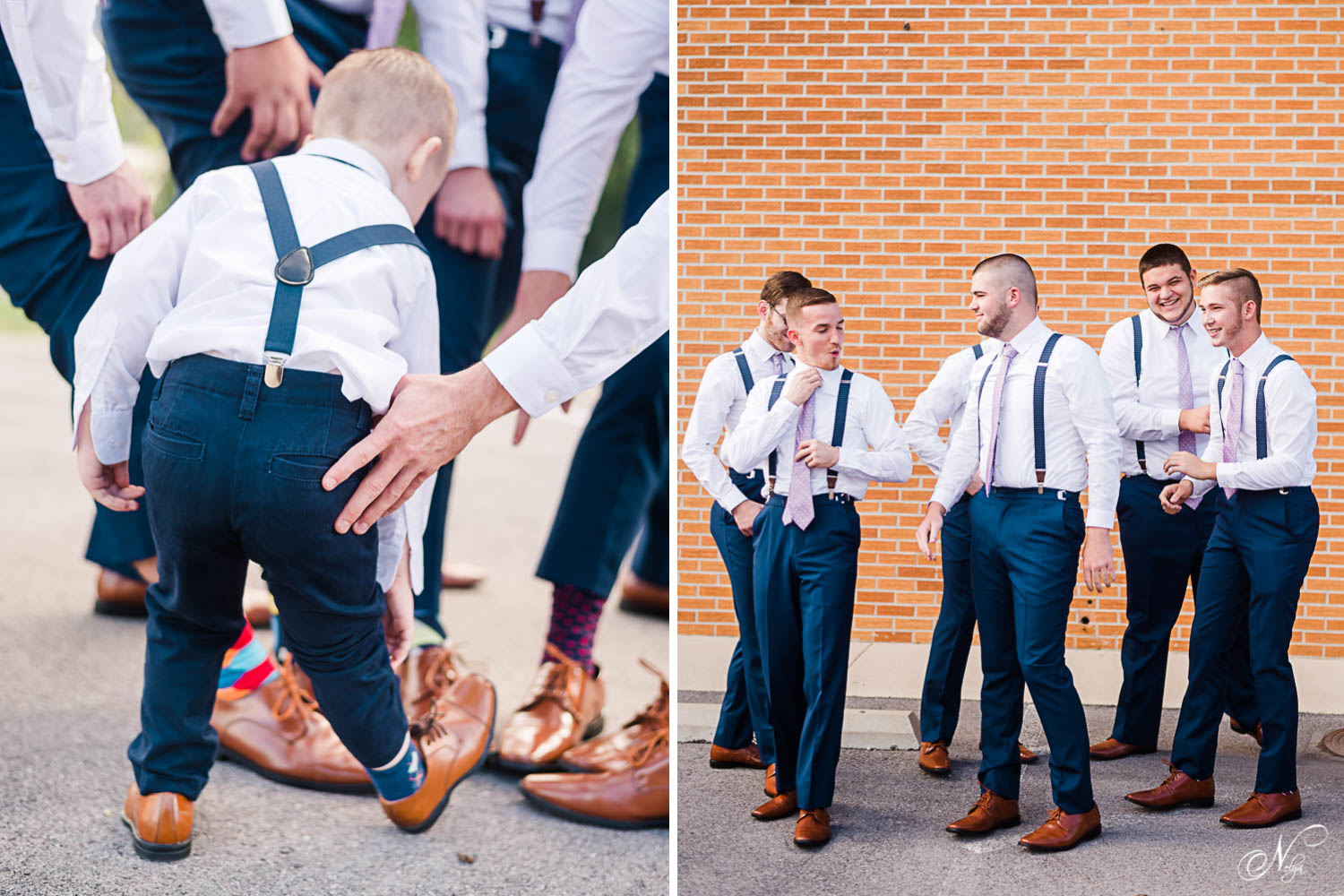 Groomsmen in brown shoes and uniques colorful socks