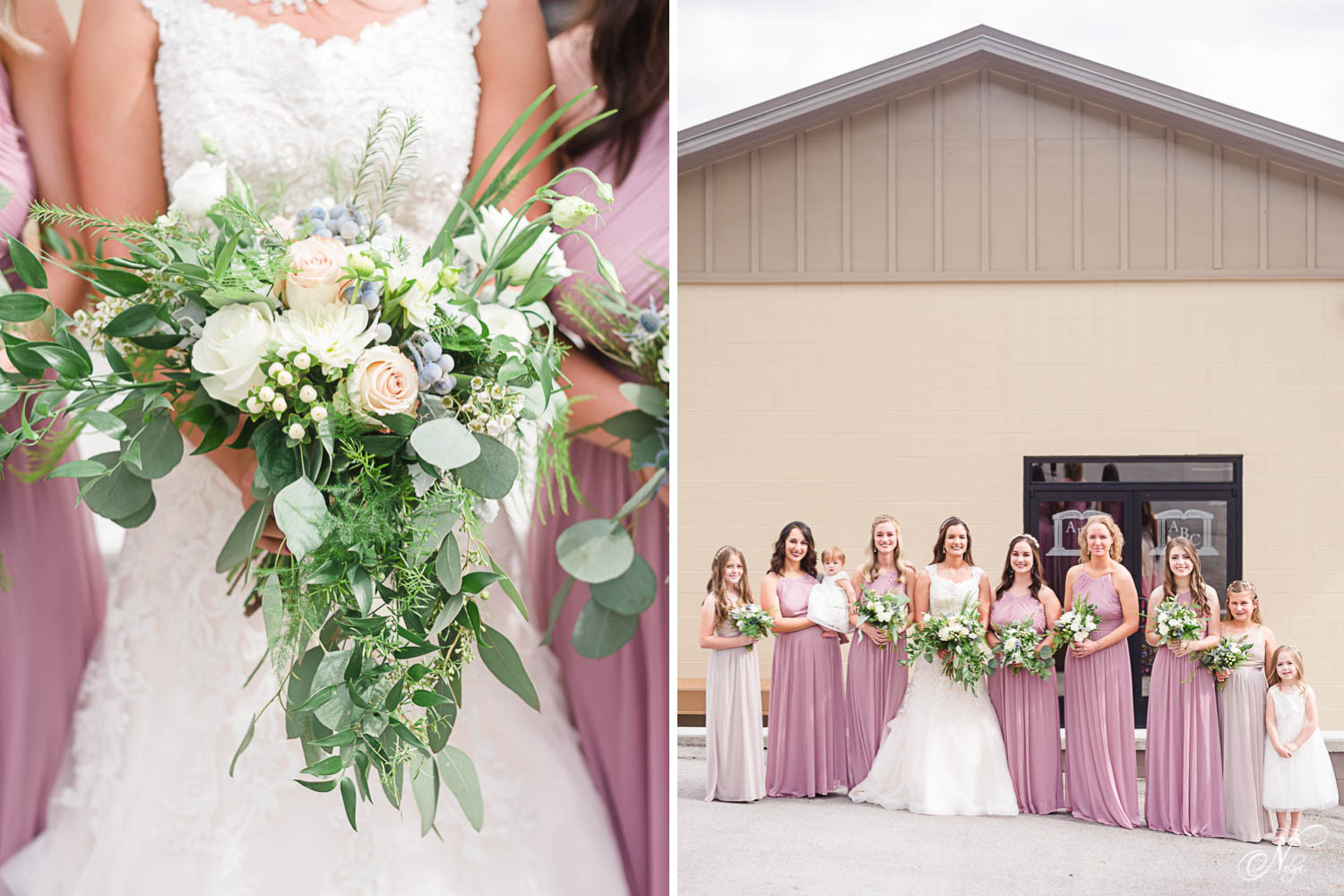 waterfall bridal bouquet on white, nuetral, and dusty blue. And bride and her bridesmaids outside in front of the church in Knoxville TN