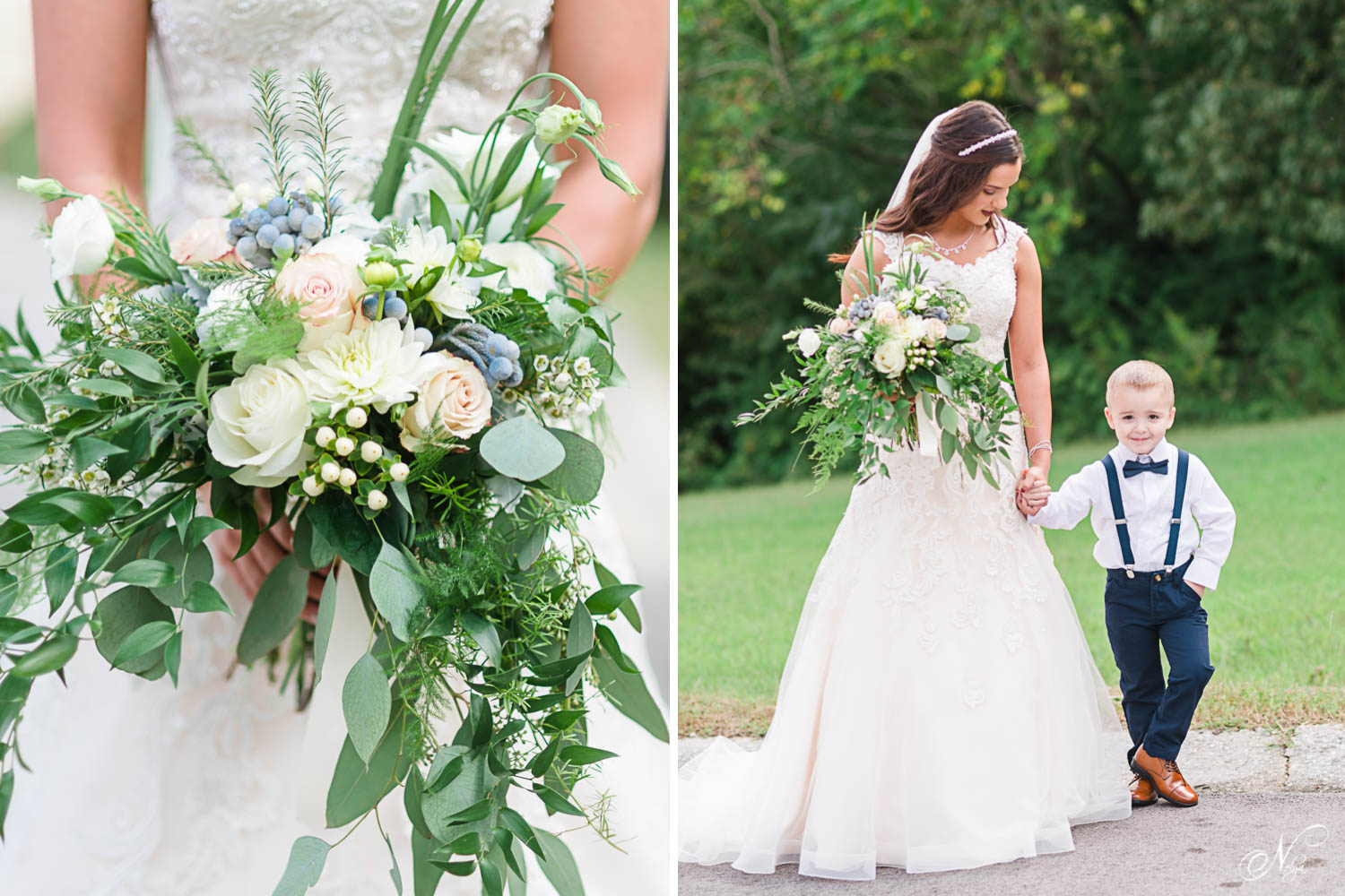 greenery, pale pink roses and white rose bouquet. And Bride looking down at cutest little ring bearer.white