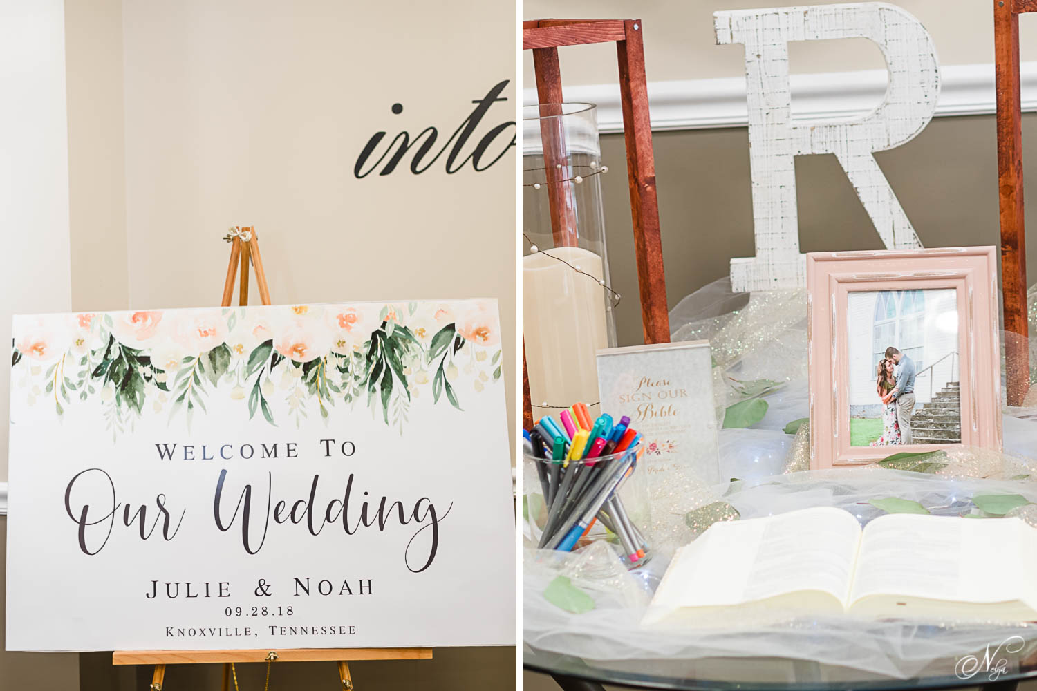 wedding sign on an easel inside the church. And a guestbook and highlighters to highlight a favorite verse in the bible for the bride and groom to read later.