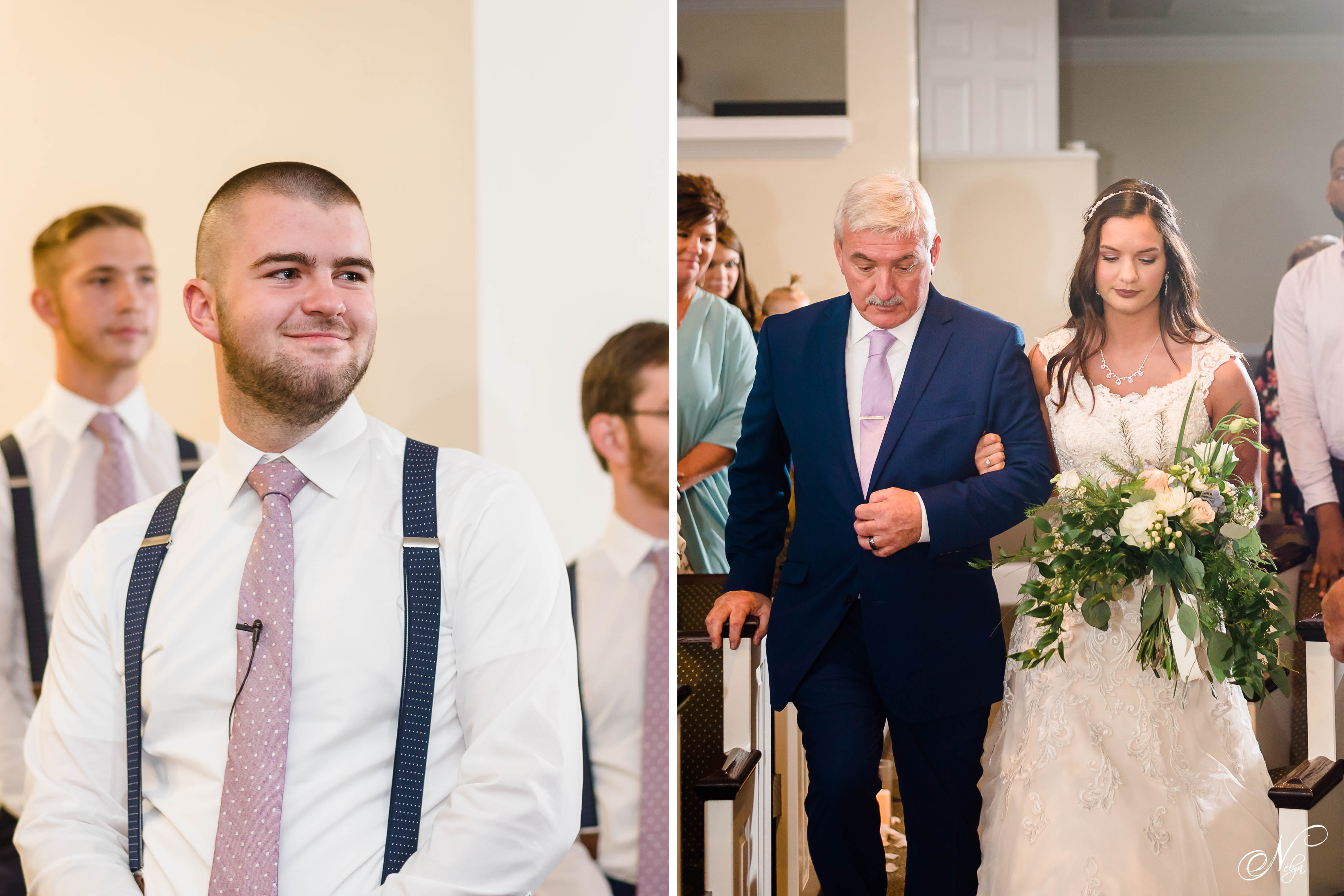 Groom seeing his bride for the first time as she walks down the aisle of their family church. And bride walking in with her dad.