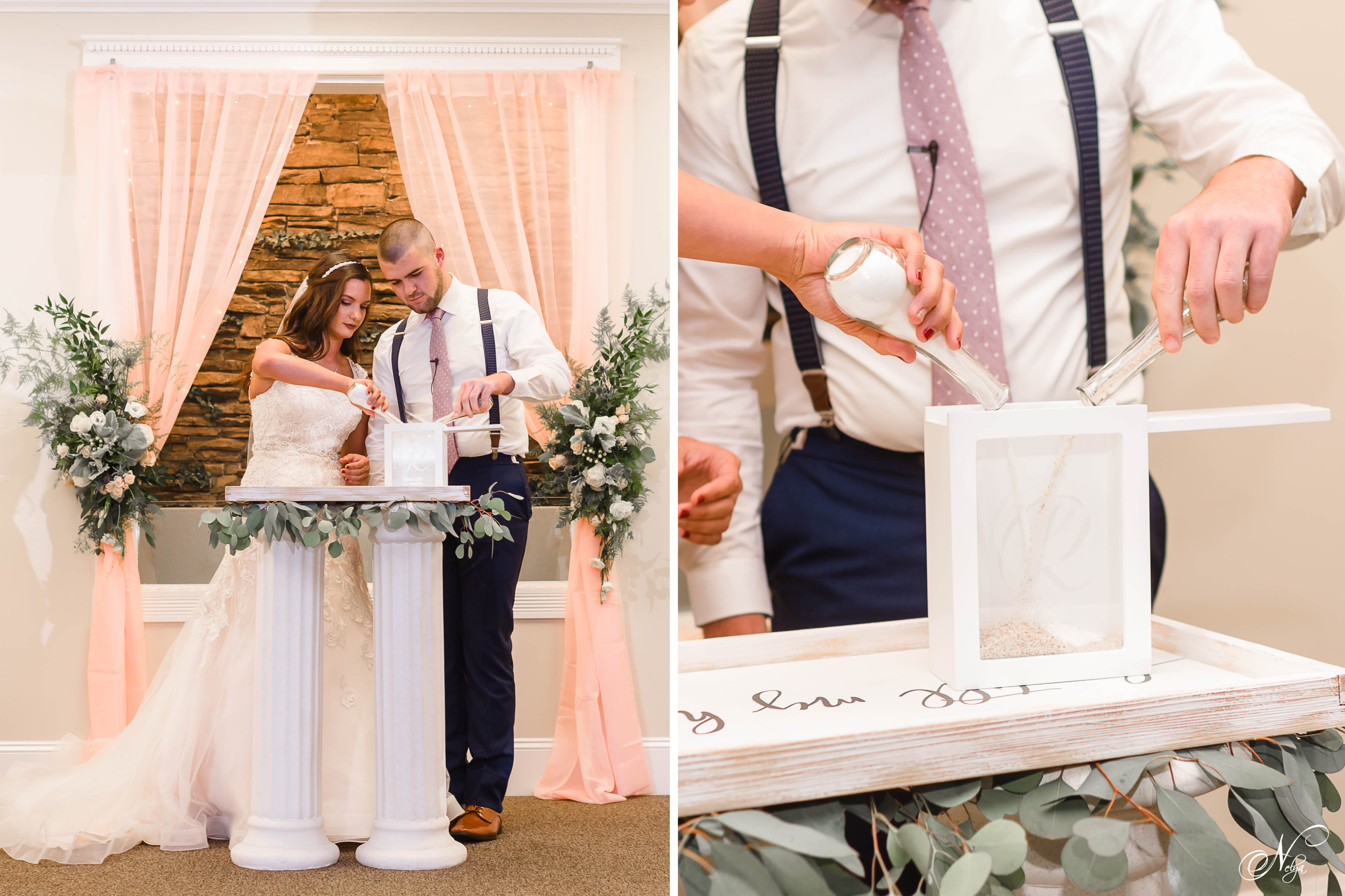 bride and groom pouring gray and white colored sand into cute glass frame with their last name engraved onto the glass.