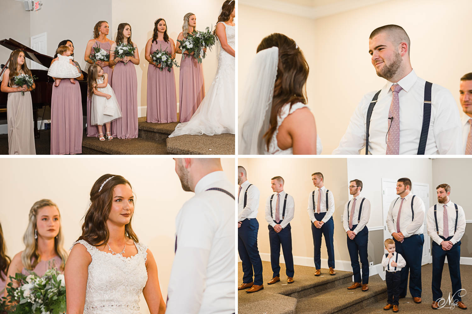 indoor windowless church wedding ceremony with bridesmaids wearing lavendar dresses.