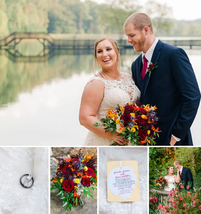bride and groom in front of lake at Indigo falls weddings and events in GA