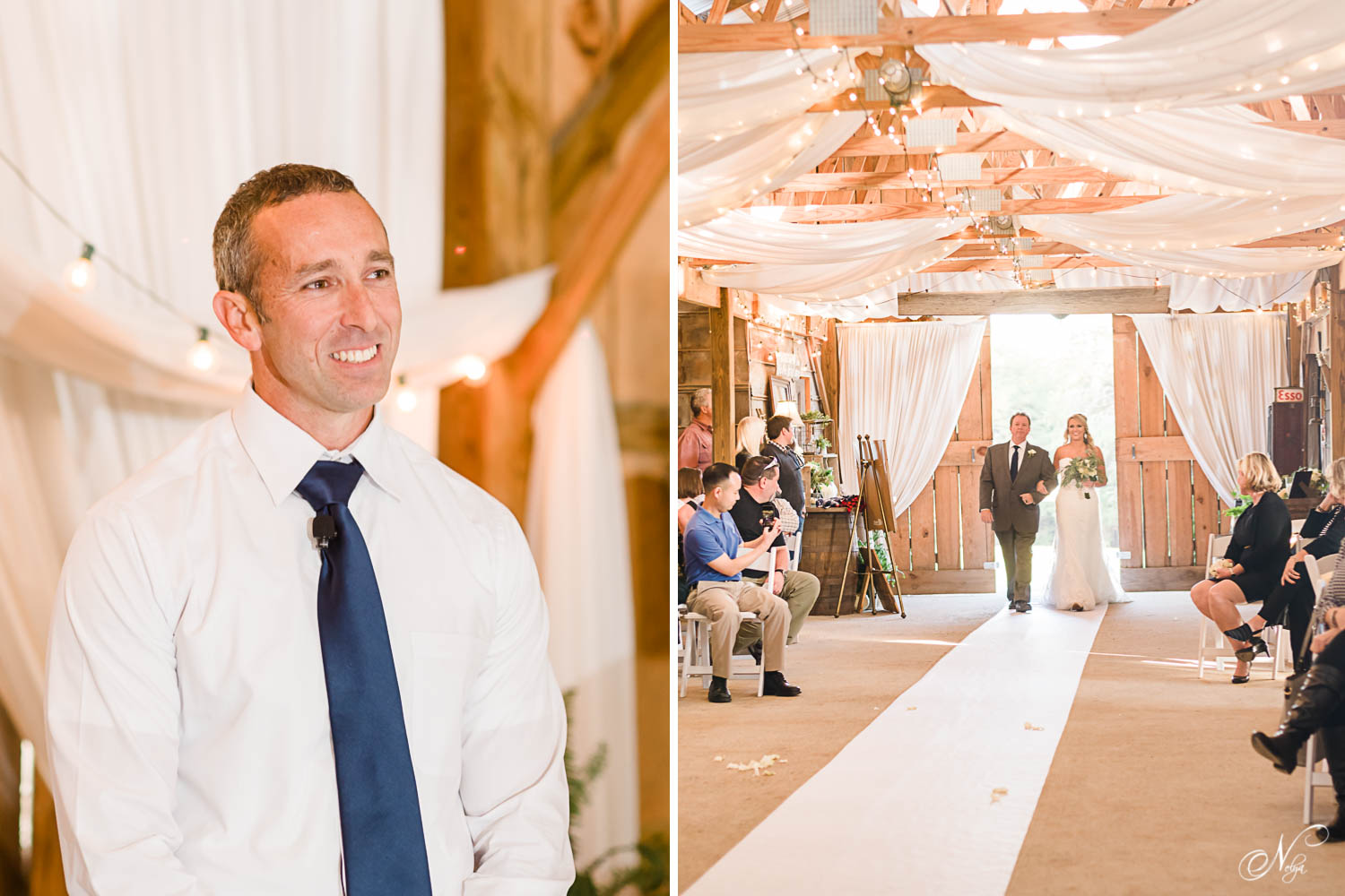 Groom watching his bride come down the aisle at their inside barn wedding ceremony at the barn at drewia hill