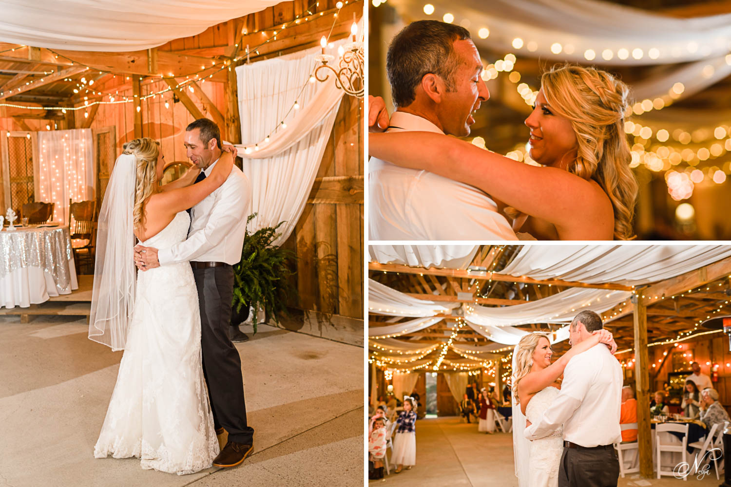 wedding couple dancing inside wooden with thousands of christmas lights barn in Tennessee