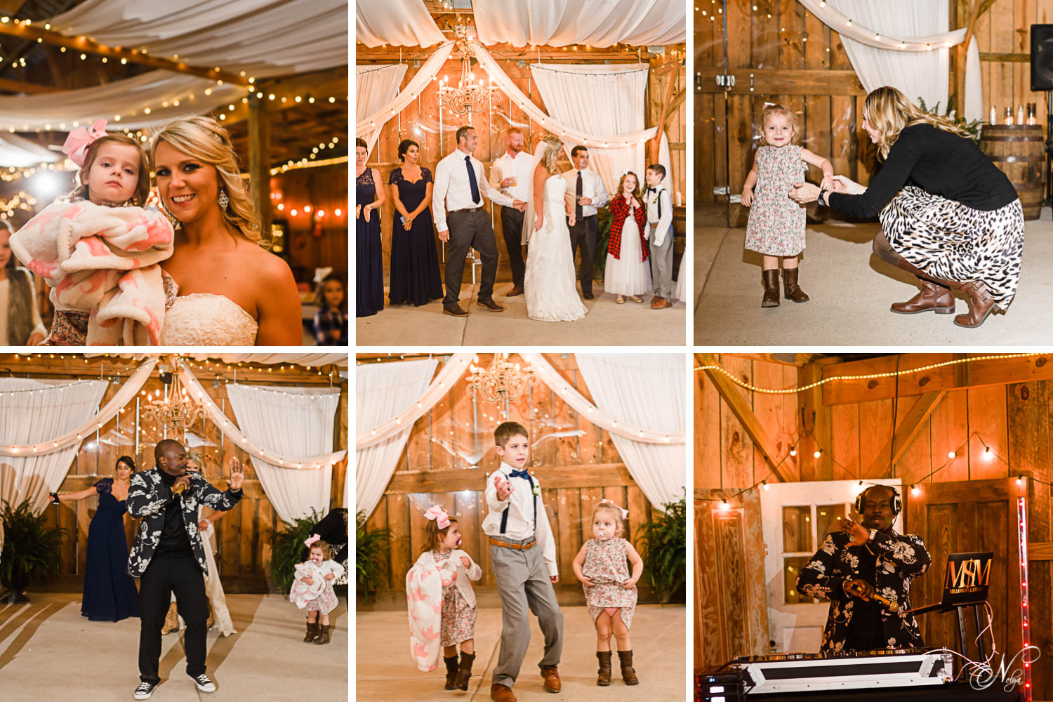 reception fun on the dance floor at the barn at Drewia Hill in Sale creek TN