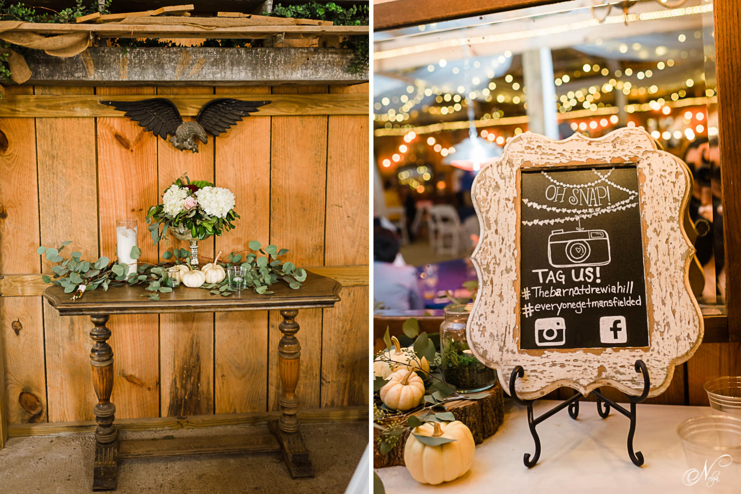 rustic barn decor at the barn at Drewia Hill. And a cute framed chalk board with the couple's instagam wedding hashtag