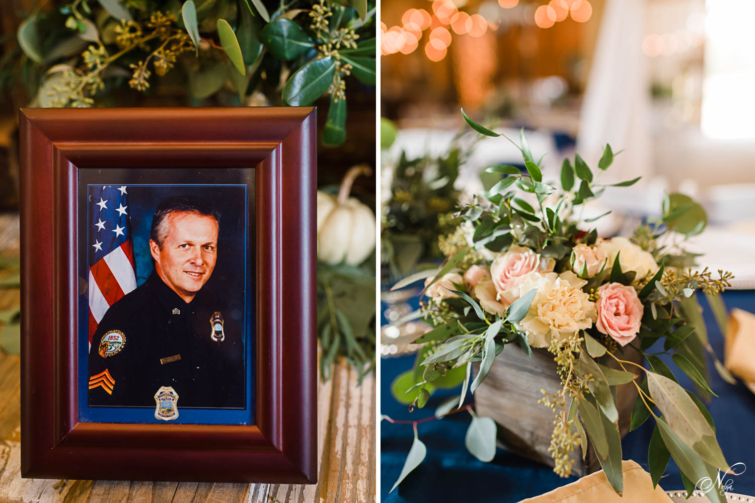 framed photo of Chattanooga officer. And floral centerpiece in wooden box