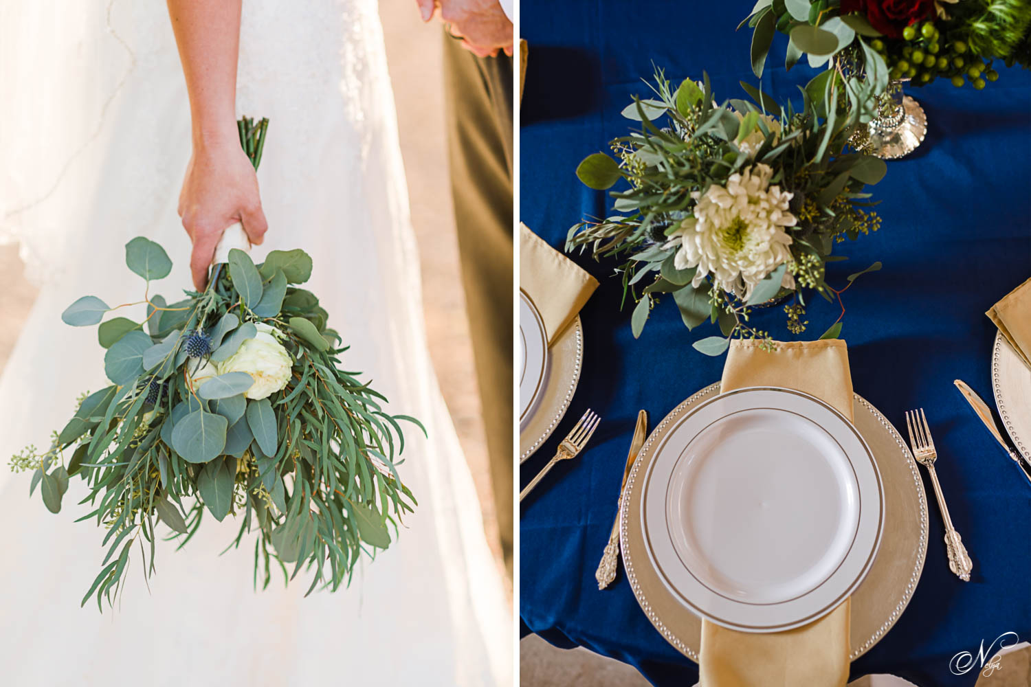 bride hand holding greenery bridal bouquet. And navy and gold table setting
