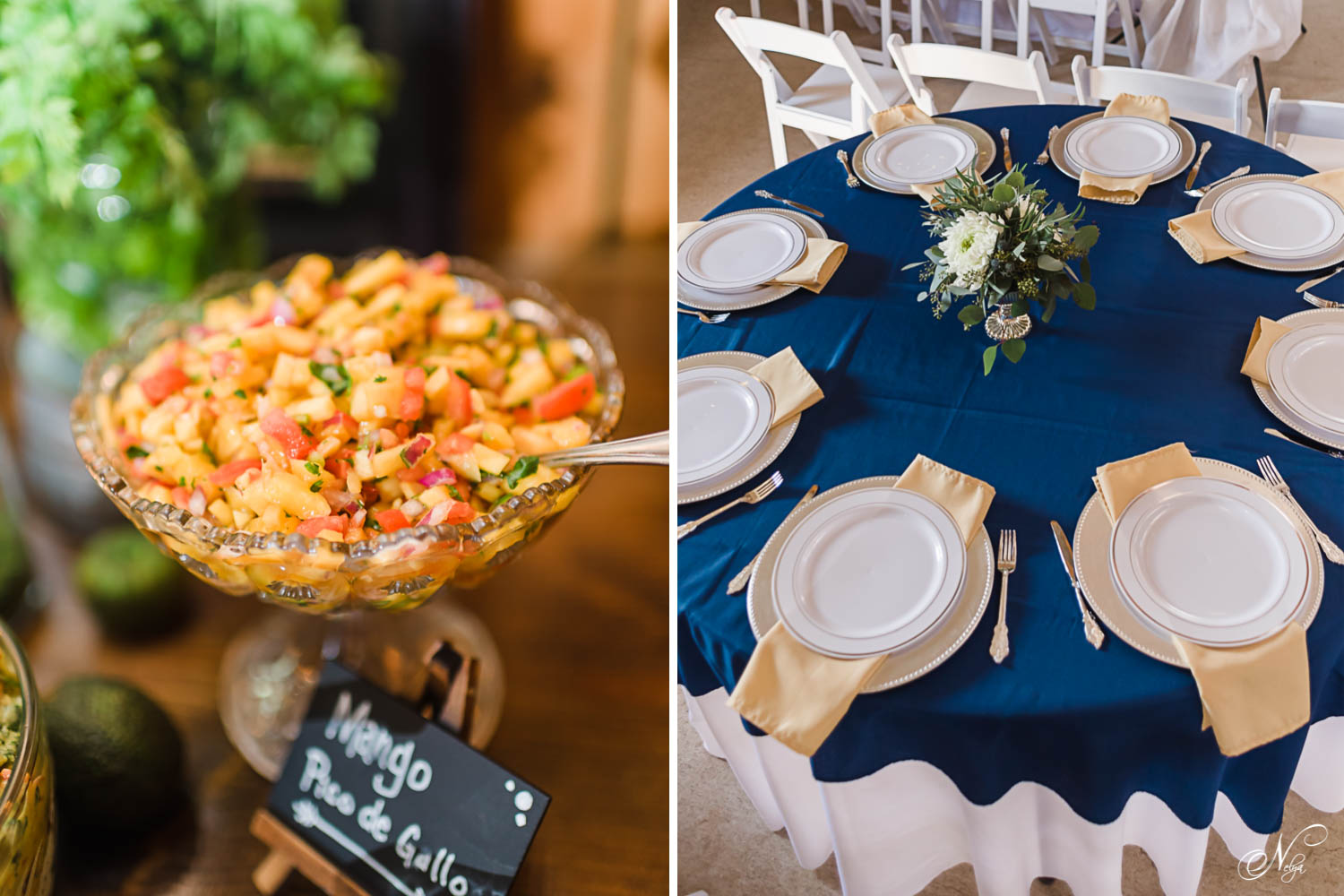 fresh mango salsa. And place settings on navy blue table cloths and gold napkins.