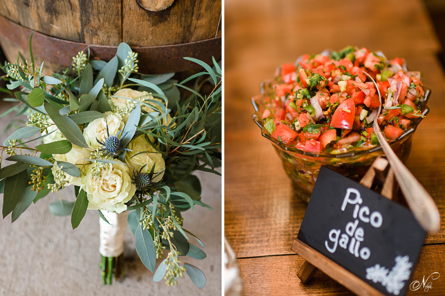 bride's bouquet leaning against a whisky barrel. And Fresh salsa