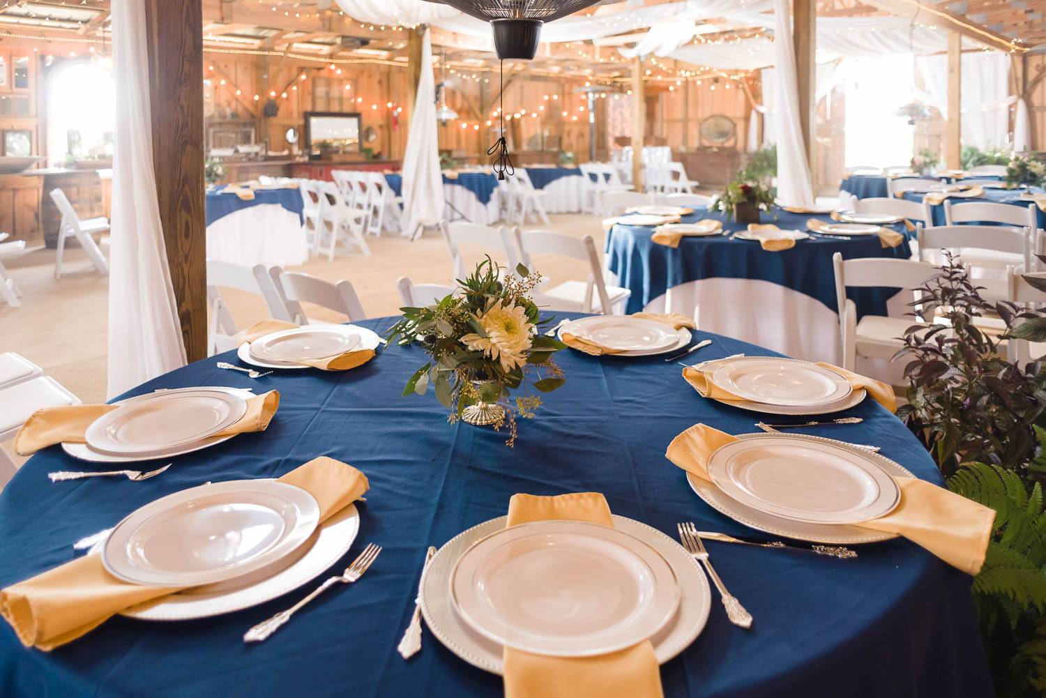 table settings in navy blue and silver chargers.