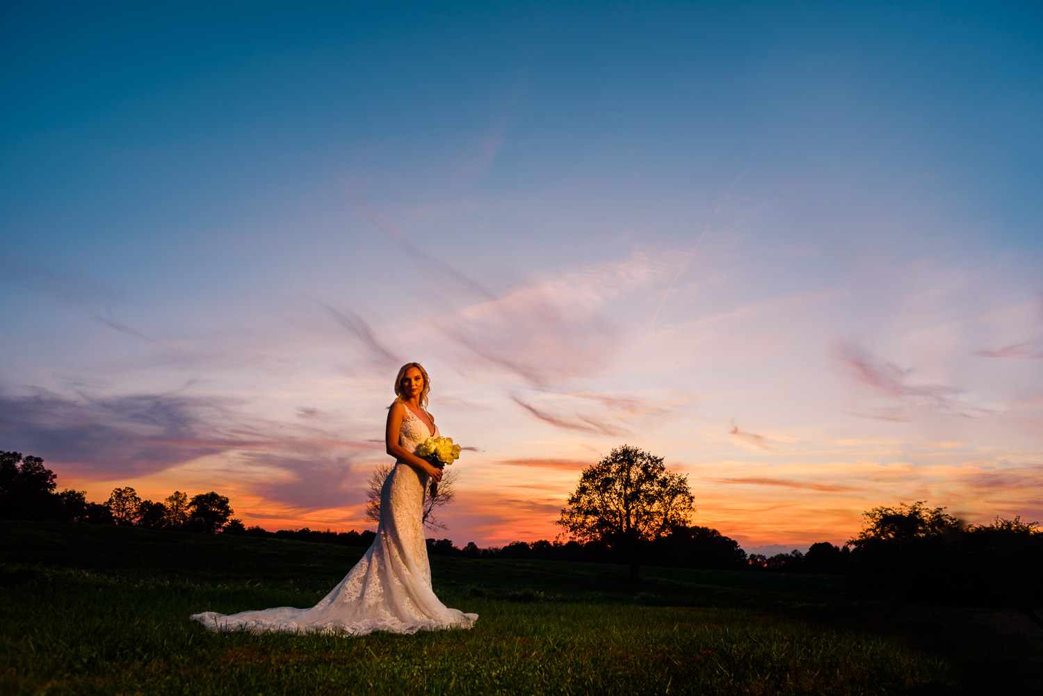 spectacular sunset with bride at sunrise farm in GA