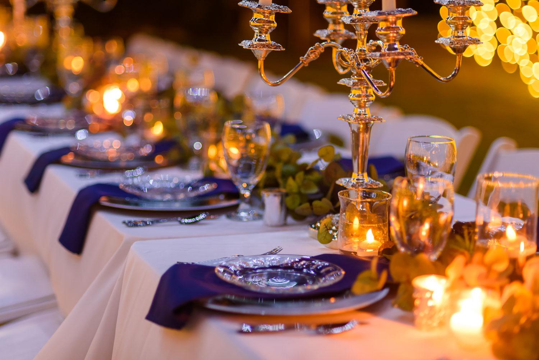 outside candlelit wedding reception