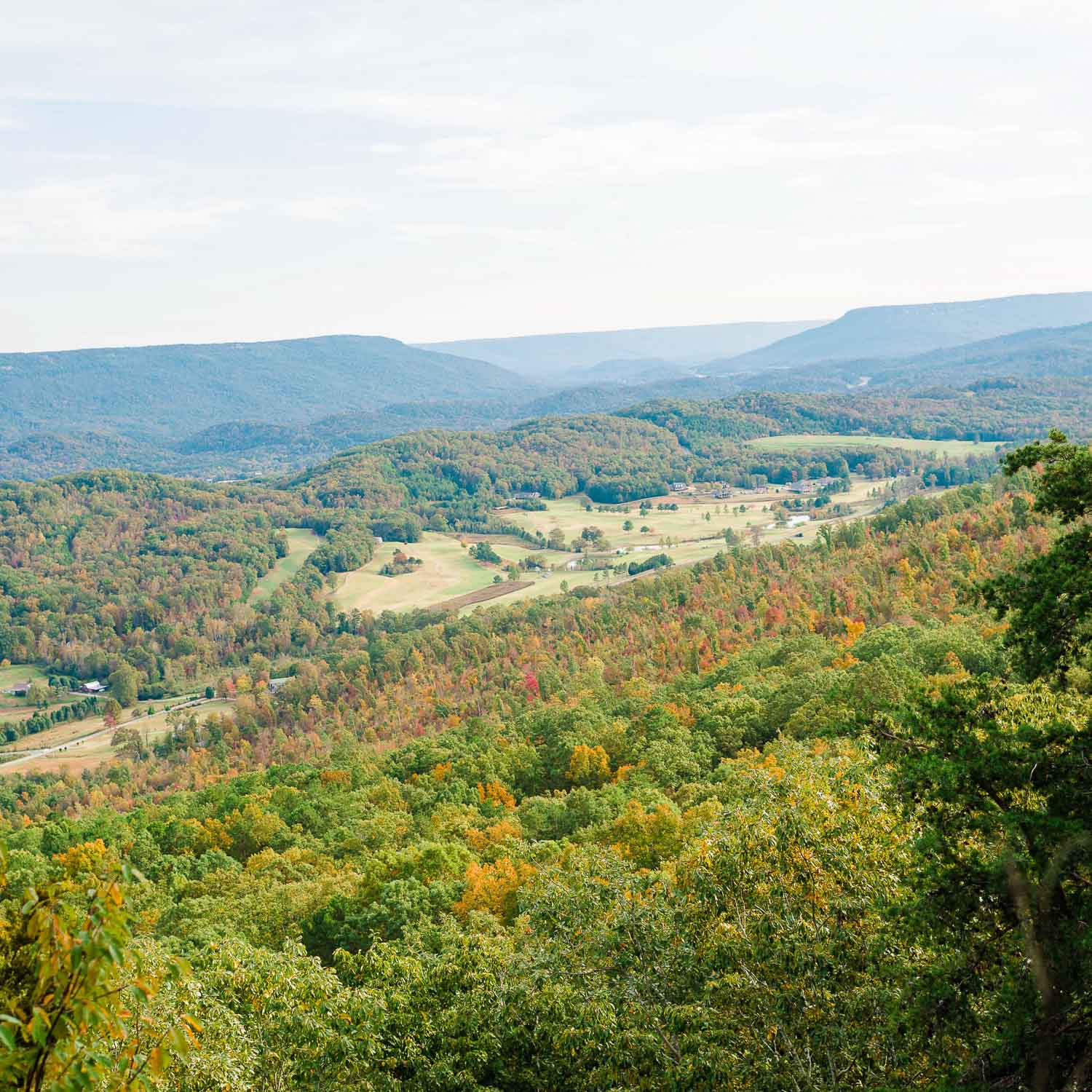 the view overlooking North Ga from Sunrise Farm wedding ceremony site