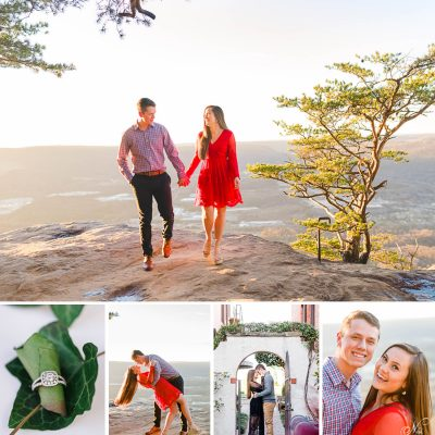 Chattanooga Engagement at Sunset Rock and Bluff View Art District | Natasha + Skyelor