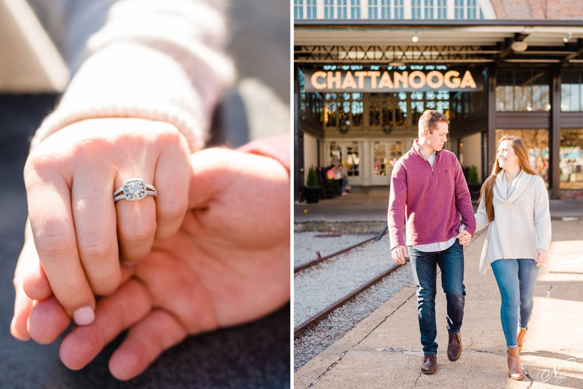 engagement ring on woman's hand. And a couple walking in front of the big sign that says Chattanooga