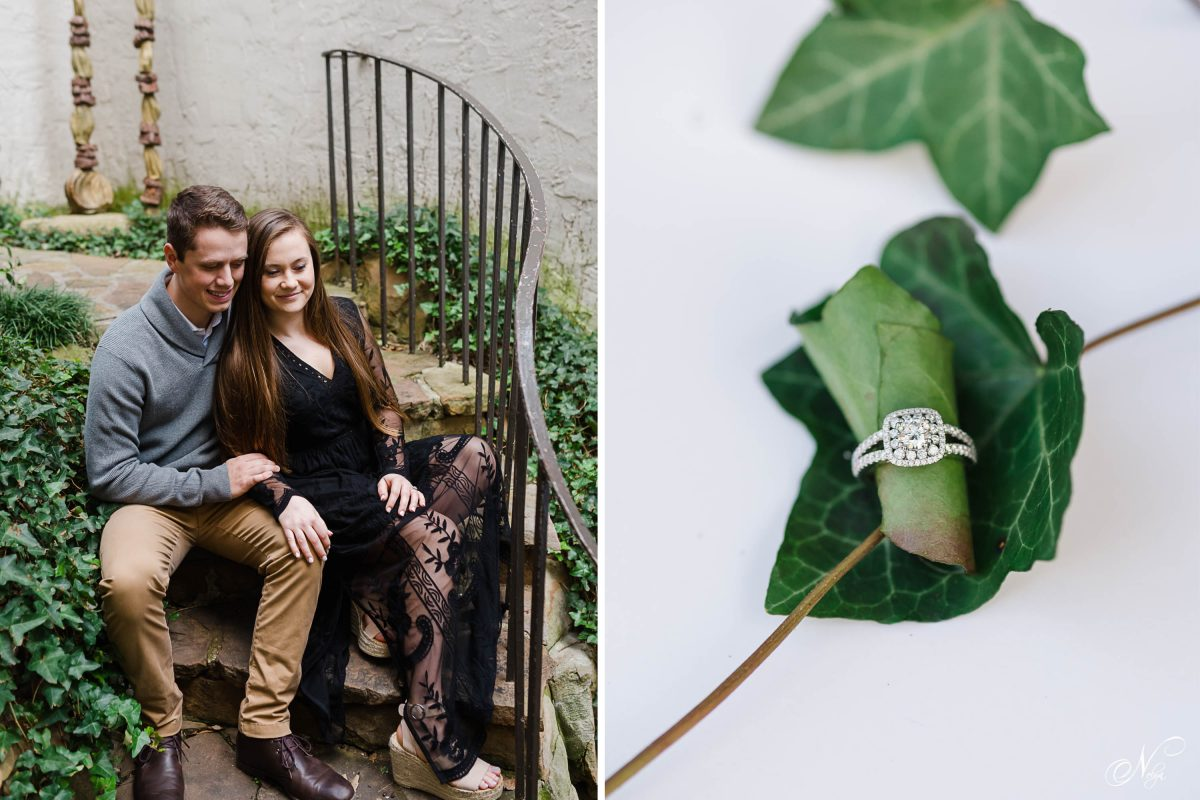 couple sitting on curved stairs. and engagement ring on green leaf