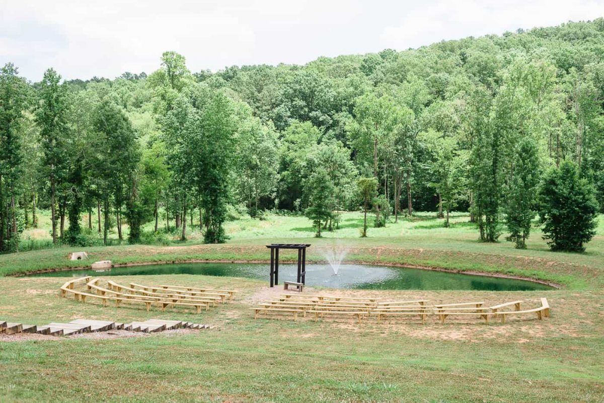 pond with fountain at Circle B Venue in GA
