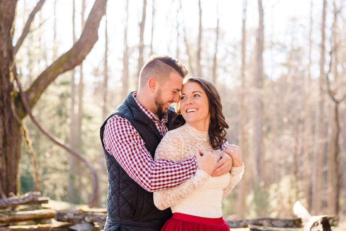 prewedding photos of couple outside in the mountains of east TN