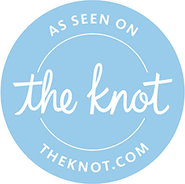 blue badge from The Knot wedding directory